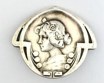 Original Art Nouveau Sterling Silver Brooch