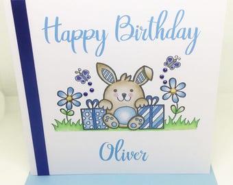 Personalised Handmade Bunny Birthday Card