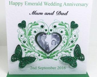 Personalised Handmade Emerald Wedding Anniversary Photo Card - 55 years