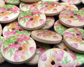 6 Tulip Flower Wooden Buttons,18mm,Floral,Pink,Craft,Crochet,Sewing,Knitting,Girls,Mixed,Petals,Spring,Summer,Woodland,Garden,Posy,Childrens