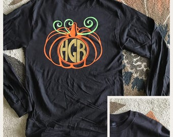 Custom front and back monogram pumpkin womens long sleeve shirt/ fall shirt / monogram top / monogram long sleeve top / custom fall apperal