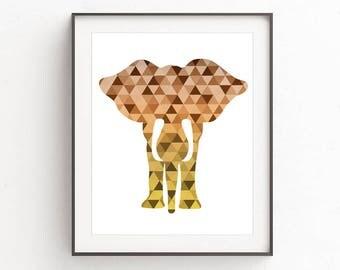 Elephant print, elephant wall art, elephant art, elephant wall prints, geometric elephant print, brown elephant, elephant printable, brown