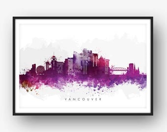Vancouver Skyline, Vancouver Canada Cityscape, Art Print, Wall Art, Watercolor, Watercolour Art Decor [SWYVR08]