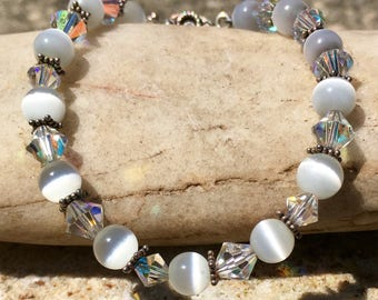 White Cat's Eye and Swarovski Crystal Beaded Bracelet