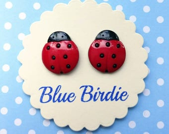 Ladybird earrings ladybird jewellery ladybird jewelry ladybird stud earrings insect earrings large ladybug earrings ladybug jewelry gift