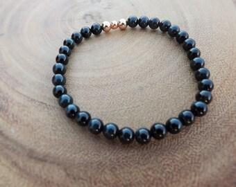 Blue Tiger Eye Beaded Bracelet with Rose Gold