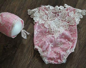 Vintage romper + bonnet- baby girl - photo prop - newborn prop - newborn romper- photography Prop, newborn outfit, sitter romper, baby girl