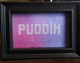 "Harley Quinn inspired ""PUDDIN"" cross stitch"