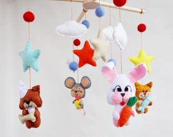 Baby mobile Funny little animals Ecology babies decor Baby crib mobile Felt mobile Nursery decor Felt nursery mobile Modern mobile