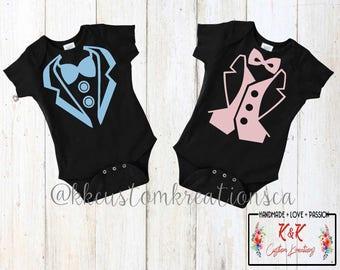 Baby Tuxedo Outfit, Baby Boy Tuxedo, Baby Girl Tuxedo, Baby Twin Outfit, Baby Bodysuit Tuxedo, Custom Baby Tuxedo, Twins Tuxedo, Baby Shower