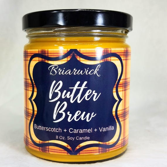 butter brew 8 oz candle wizard inspired soy vegan candle