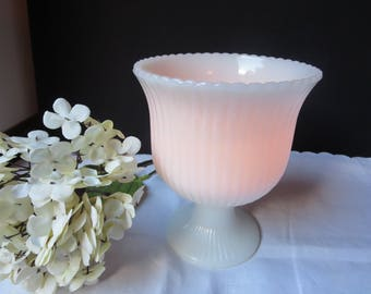 Vintage E.O.Brody Glass Cleveland Ohio USA Ribbed Pedestal Milk Glass Vase Planter Candleholder M3000 Pattern