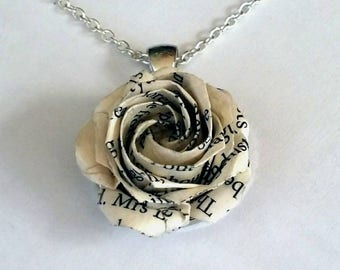 Origami Rose Necklace, Origami Jewelry,  Origami Flower Necklace, Paper, Anniversary,Recycled paper