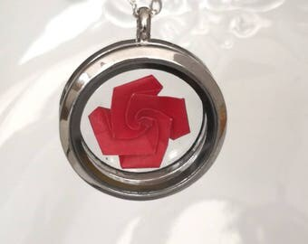 Origami Flower Necklace with 925 Sterling Silver- Glass Locket-Origami Rose Necklace-Origami Jewelry- Origami Paper Locket-Valentine's Day