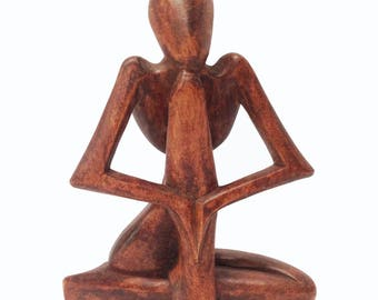 Meditating Figure Hand-Crafted in Mas, Bali, Indonesia