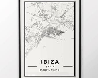 Ibiza City Map Print Modern Contemporary poster in sizes 50x70 fit for Ikea frame 19.5 x 27.5 All city available London, New York Paris