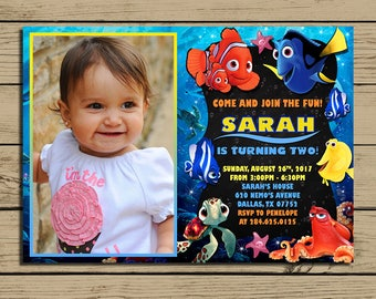 Finding Dory Invitation - Finding Dory Birthday Party Invite - Finding Dory Chalkboard Invitation With Photo - Finding Nemo - YOU PRINT