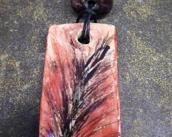 Palms of Fire - Artisan made ceramic pendant - Hand painted