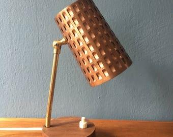beautiful little mid century table lamp   copper brass teakwood. 1950s  