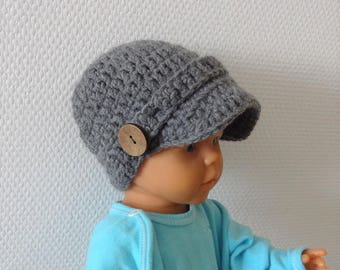 newsboy Hat , Visor Boy Hat, Baby Boy, Newborn Visor Hat,  boy Outfit , Newborn Newsboy Hat Baby Beanie ,  Hat for Boys gray boy crochet hat