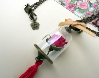 Natural dried rose necklace