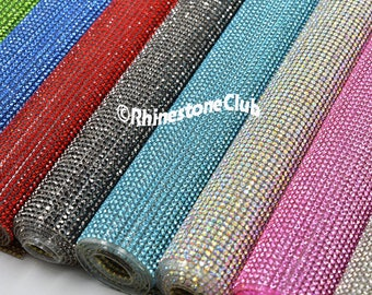 Rhinestone sheets / rhinestone fabric , perfect for dress making 46 inches long and 15 inches wide stone 3mm  iron-on