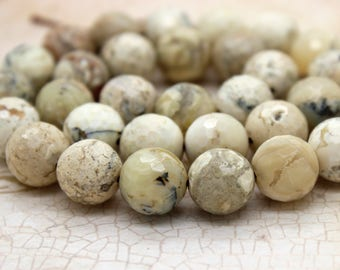 Africa White Opal Faceted Round Gemstone Beads (4mm 6mm 8mm 10mm 12mm)