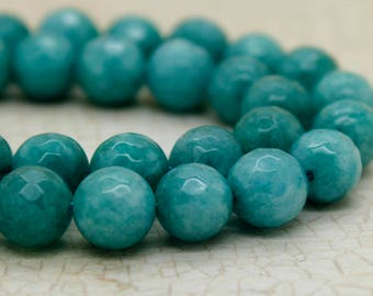 Dye Jade Teal Faceted Round Gemstone Beads (8mm)
