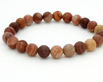 "Smooth Picture Jasper Beads Size 8mm. Length 8"" Semi-Precious Gemstone Elastic Cord Bracelet Accessories"