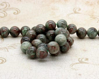 "Red Green Garnet Smooth Ball Round Sphere Natural Gemstone Beads - Full 15.5"" Strand"