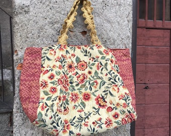 Shopping bag in vintage silk and cotton brocade fabric