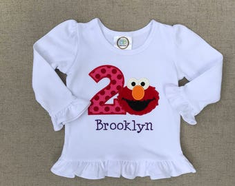 Girls Elmo Birthday Shirt, Elmo Ruffle Shirt, Elmo First Birthday Shirt, Elmo Second Birthday Shirt