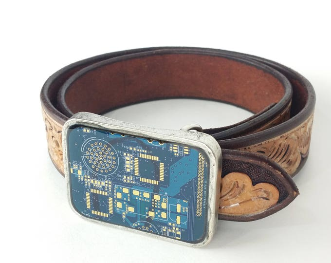 Two Tone Blue and Gold Circuit Board Belt Buckle
