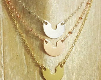 Half moon necklace in silver 925, gold-plated or pink gold plated