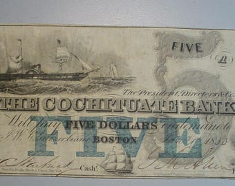 Obsolete Bank Note Boston Mass Cochituate Bank 1853 5 Dollars Nice Details<> S & H includes Insurance<>  <>ETP5659