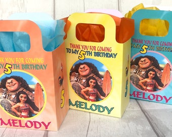 Princess MOANA and MAUI Birthday Party Bag Box Personalised x1
