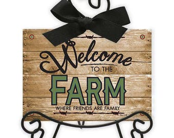 Welcome to the Farm - Acrylic Framed Art With Easel