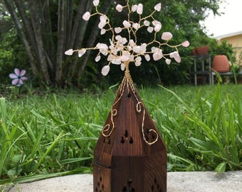 Wire Wrapped Gemstone Tree Adorned Wooden Insense Box
