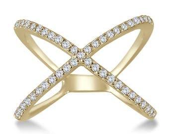 1/2 Carat TW Diamond Criss Cross X Ring in 10K Yellow Gold