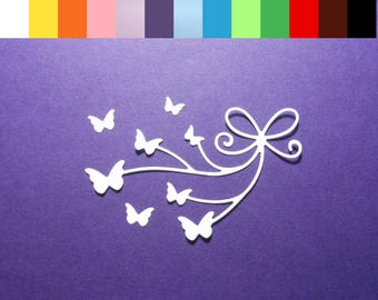 """8 Intricate Bow with Butterflies Die Cuts Color Choice 3 1/4"""" x 2 1/8"""" Cardstock Paper Butterfly Embellishment Scrapbook Card Making"""