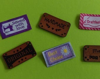 Set of 6 tags to sew your creations
