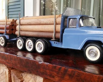 RESERVED - Double tandem logging truck, Vintage Logging pup tractor trailer, Transport 20 full cords of logs, Awesome Unique toy, Log truck