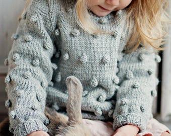 Babies/Children's/Toddler's merino wool sweater, handknitted sweater, pocorn sweater, pullower, cardigan