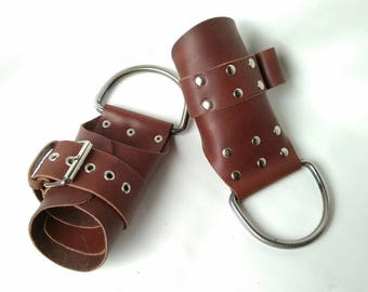 handcuffs,  handcuffs for hanging from genuine leather on welded rings, Leather Bondage Restraints