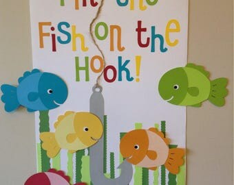 Pin the fish on the hook birthday party game