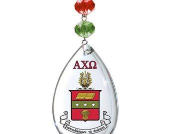 AXO Logo Crystal - Crest- Alpha Chi Omega MAGNETIC ORNAMENT/Axo Decor/Axo Ornament/Alpha Chi Omega Dorm Room Decor