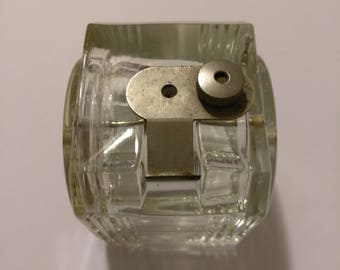 Vintage Rare Johnson and Johnson Glass Dental Floss Dispenser