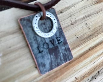 Stamped Copper Necklace.