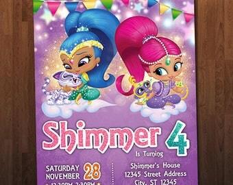 Shimmer and Shine Birthday Invitation, Shimmer and Shine Invitation, Shimmer and Shine Birthday Custom Personalized Printable Digital Invite