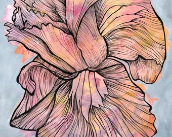 Flower art, fine art print, feminine painting, contour line art, elegant nursery decor, children art, baby gift, beautiful flower art